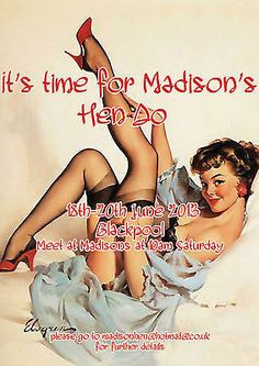 PERSONALISED 1950's  VINTAGE PIN UP HEN PARTY  INVITATIONS 10,25,50,100