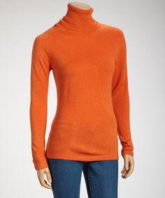 Take a look at this Orange Oversize Turtleneck by Joy Mark on #zulily today!