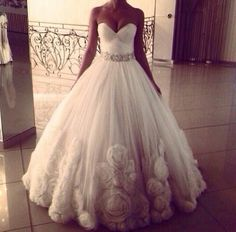 Big princess wedding dress With lace instead of roses
