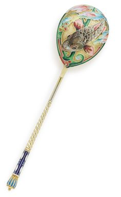 A RUSSIAN GILDED SILVER AND SHADED ENAMEL SPOON, VASILY AGAFONOV, MOSCOW, 1908-1917 the back of the bowl with a brightly colored koi among swirling floral ornament against a stippled gilt ground, the twist handle with mitre finial and enameled in shades of blue and white, 84 standard, with later Soviet control marks