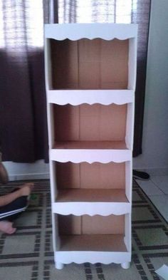 Os pés podem ser feitos com o próprio papelão Diy Cardboard Furniture, Cardboard Storage, Cardboard Box Crafts, Diy Storage Boxes, Diy Furniture, Diy Para A Casa, Diy Casa, Diy Home Crafts, Diy Box