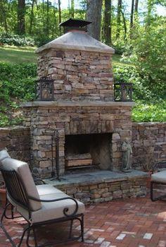 18 Backyard Patio Fireplace Portfolio Brick Patio and Outdoor Stone Fireplace Outdoor Fireplace Patio, Outdoor Stone Fireplaces, Outside Fireplace, Brick Paver Patio, Natural Stone Fireplaces, Outdoor Fireplace Designs, Patio Wall, Brick Patios, Backyard Patio