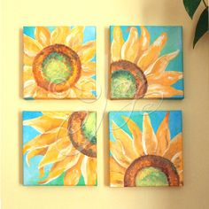 Hey, I found this really awesome Etsy listing at https://www.etsy.com/listing/183774542/custom-sunflower-painting-set-of-4-6x6