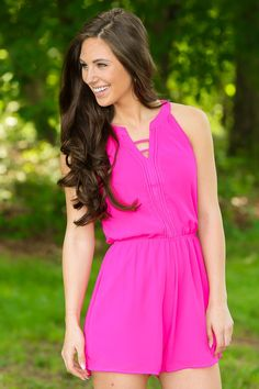 Filled With Butterflies Romper-Fuchsia - New Arrivals | The Red Dress Boutique