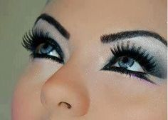 dramatic silver black eyeshadow double winged eyeliner :)