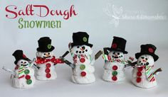 Salt Dough Snowmen preschoolers can make and decorate. Spring Theme, Winter Theme, Merry Little Christmas, Winter Christmas, Christmas Ideas, Salt Dough Christmas Decorations, Dough Ornaments, Xmas Ornaments, Holiday Crafts