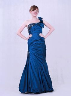 Chiffon evening dress one strap floor length taffeta