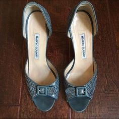 I just discovered this while shopping on Poshmark: 🎉HP🎉 Manolo Blahnik Alligator D'Orsay Pumps. Check it out! Price: $100 Size: 8