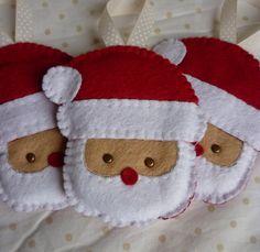 Set of 3 Handmade Felt Santa Ornaments by rosecottagedesignss, £12.00