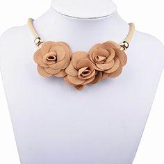 Fantastisch Braun Blumen Collar Fabric Statement Choker Anhänger Prom Halskette.