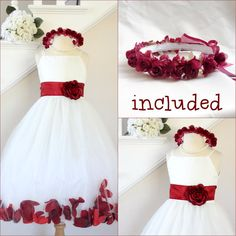ff6f84397eb Gorgeous Ivory apple red rose petals flower girl dress all sizes FREE  HEADPIECE