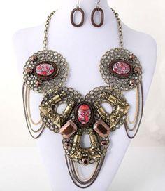 Antique Gold Art Deco Tribal Stunnning Statement Fashion Necklace Set #FashionJewelry
