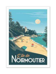 """€25 . Affiche Illustration Originale NOIRMOUTIER """"Plage de l'Anse Rouge"""" . Papier 350g/m² Couché Mat"""