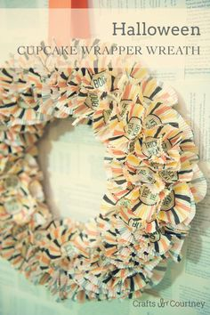Create and easy Halloween Cupcake Wrapper Wreath for your home decor - Crafts by Courtney Wreath Crafts, Diy Wreath, Decor Crafts, Diy Crafts, Wreath Ideas, Burlap Wreath, Fall Crafts, Holiday Crafts, Holiday Fun