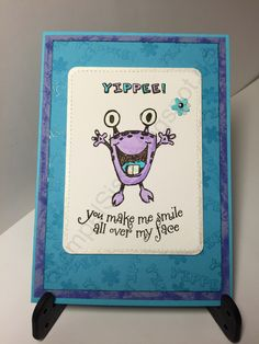 Monster Card, you make me smile all over my face #Technique_Tuesday #StempelSissi #Sissi_s_kreatives_Kämmerlein