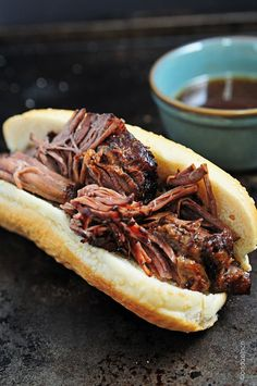 Balsamic Roast Beef French Dip Sandwich - yes please!