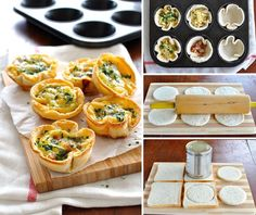 Mini quiches made using sandwich bread! Filled with bacon, cheese and egg mixture. Cute mini quiches made using plain old sandwich bread. Makes 6 quiches servings). Quiche Recipes, Egg Recipes, Brunch Recipes, Breakfast Recipes, Cooking Recipes, Cheese Recipes, Mini Quiches, Comida Picnic, Recipetin Eats