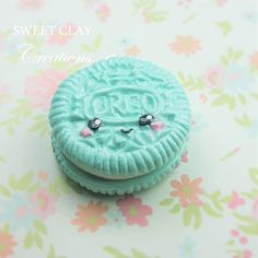 Teal Oreo Kawaii Charm. Polymer clay Cham Handmade Jewelry by Sweet Clay Creations
