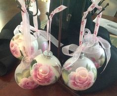 Hand painted Pink Ribbon ornaments at Christy's Creative Cafe