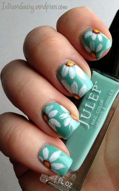 16 Simple Spring & Summer Flower Nails – Best New DIY Home Manicure Design Glam Nails, Beauty Nails, Cute Nails, Pretty Nails, Daisy Nails, Flower Nails, Daisy Nail Art, Hair And Nails, My Nails