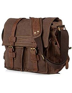 Vintage Canvas Leather Messenger Bag Satchel Cross body Military Shoulder Bag for sale online Canvas Crossbody Bag, Canvas Messenger Bag, Messenger Bag Men, Messenger Bags For School, Vintage Messenger Bag, Leather Camera Bag, Leather Crossbody Bag, Black Crossbody, Rucksack Bag