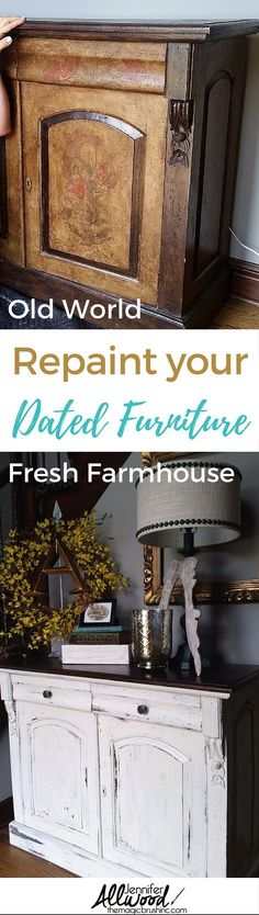How to paint dated Old World furniture into fresh white farmhouse furniture. This white furniture tutorial and makeover will inspire you to update your living space into a farmhouse feel! More Painting Tips, Design Advice and furniture makeovers at theMagicBrushinc.com #farmhouse #furniture #DIY #homedecor