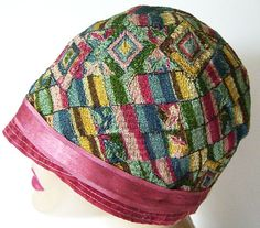 Vintage 1920s Multicolor Geometric Embroidered Flapper Women's Cloche Hat