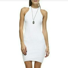 Last2*White Rib Knit High Scoop Neck Sweater Dress 💜White Rib Knit High Scoop Neck Fitted Mini Dress NWT. You'll definitely turn heads in this sexy dress. It's the perfect length & shows the right amount of skin with it's high scoop neckline & bold shoulder cutout. Great dress for any occasion💜  🚩60% Cotton 40% Acrylic Sizes Avail: S/M, M/L          🚫No Trades Price Firm🚫 ✈✈Ships Same Or Next Day✈✈ Tea n Cup Dresses Mini