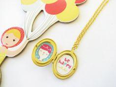 Be Happy - photo locket necklace antique gold
