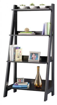 Wall Book Shelf Leaning Ladder Bookcase Oak Wooden Rack Holder ...