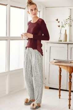 Our Berry Jersey Woven Mix Top looks lovely, Why not have this in your PJ draw?