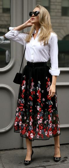 The most versatile midi skirt + the best white button-down // black floral embroidered midi skirt with waist belt, non-iron white button down, black manolo blahnik hangisi pumps, saint laurent shoulder bag, oversized cat eye sunglasses {Maje, ysl, uniqlo, manolo blahnik, classic style, workwear, office attire, fashion blogger}