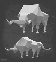 sevensheaven nl low polygon stier bull abstract art kunst ....Check this out: http://artcaffeine.imobileappsys.com