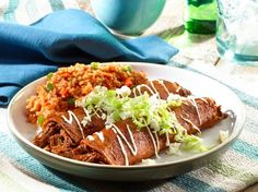 Here our Beef Enchiladas are filled with seasoned shredded beef, then topped with a deeply flavored, slightly spicy dried chile sauce (salsa roja), made with pasilla and ancho chiles. Authentic Mexican Recipes, Mexican Food Recipes, Beef Recipes, Dinner Recipes, Ethnic Recipes, Mexican Dishes, Goya Recipes Puerto Rico, Enchiladas Mexicanas, Salsa Roja