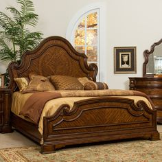 Fairmont Designs Devonshire Wood Panel Bed in Palazzo by Humble Abode.  Luxurious in style, you can't resist the artistic styling seen in the headboard and footboard.  Beautifully designed Primavera patterns inside a flowing arched headboard is truly unique.  Finished in a rich brown hue with varying textures, the Devonshire panel bed will stand out as the focal point in your master bedroom or guest suite.  Offered in Queen, King & Cal. King sizes.