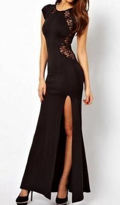 Love the Back of this Dress! Sexy Black Maxi Bodycon Dress with Slit and Back Lace Panel #Sexy #Black #Lace #Side_Slit #Maxi #Dress #Holiday #Fashion