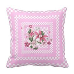 1 Square Floral Country Style Pink White Check Pillow