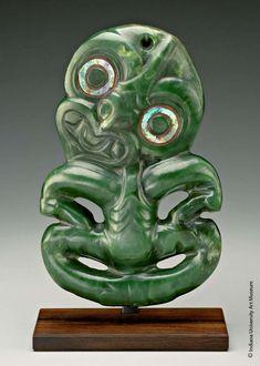 Pendant, Hei Tiki  19th century  Nephrite, haliotis shell (abalone)  H. 9 in. (22.9 cm)  Indiana University Art Museum