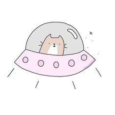 Cat Spaceship Logo Design