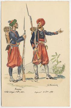 2nd Battalion Zouaves, Native Soldier and 1st Battalion Zouaves, Corporal 1831 by H.Boisselier