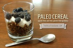 Paleo cereal (with maca, grain-free, nut-free, gluten-free granola) - The Real Food Guide Allergy Free Recipes, Paleo Recipes, Whole Food Recipes, Gluten Free Granola, Grain Free Granola, Low Carb Breakfast, Breakfast Recipes, Breakfast Ideas, Free Breakfast