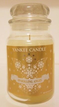 NEW Yankee Candle SPARKLING ANGEL 22oz Jar Candle White Deerfield Label RARE
