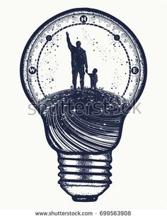 Father and son in lightbulb, surreal tattoo art. Happy family of the future. Father teaches son to dream, life education. Immortality of human life t-shirt design