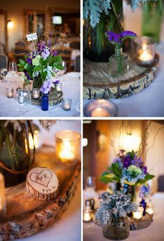 aspen tree wedding decorations | ... décor. We burned a heart with our initials into small tree stumps