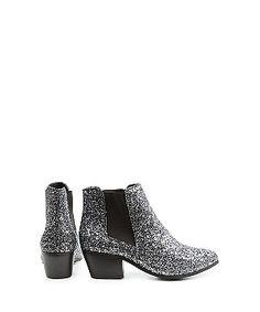 Dark Siver Glitter Block Heel Ankle Boots  | New Look
