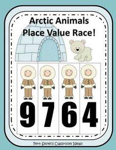 Place Value Race Arctic Winter Animals By Fern Smith #teacher www.FernSmithsClassroomIdeas.com