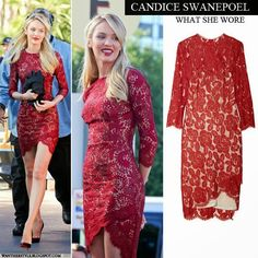 Candice Swanepoel Red Dress | WHO : Candice Swanepoel on the set of Extra on December 9 2013, Los ...