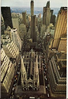 NYC. st patricks cathedral from international building april 1964