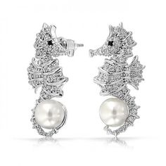 Nautical Seahorse Pave CZ Pearl Stud Earrings