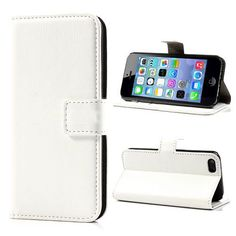 Wit leder bookcase hoesje iPhone 5C